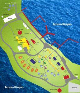 Łabędzi Ostrów mapa struktury noclegowej